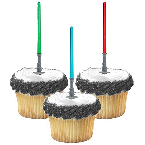 Adorox Star Wars Lightsaber Cupcake Picks Toppers Birthday Fun Party Decorations Kit (12)