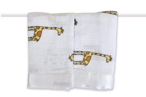 Aden + Anais 2 Pack Muslin Issie Security Blanket, Duke - Giraffe