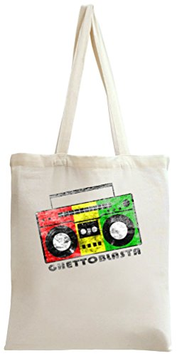 Styleart Reggae Jamaican Ghetto Blaster Tote Bag. 100% natural organic  cotton materials.
