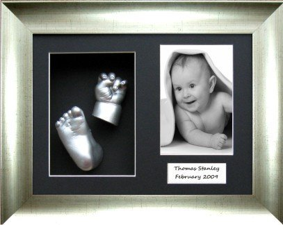 Christening Gift Baby Cast Kit Silver Hand Foot Casting Brushed Silver Frame