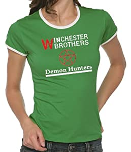 Supernatural - Demon Hunters Girlie Ringer T-Shirt Kelly Green, L