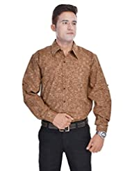 Kalrav Fashion Beige Printed Cotton Shirt