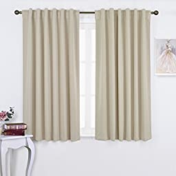 Nicetown - Set of Two (2) Thermal Insulated Light Reducing Back Tab / Rod Pocket Curtains / Drapes 52 Inch by 63 Inch Long in Beige
