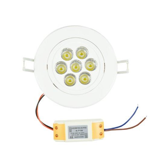 Ezone 7W Led White Housing Yellow-White Sunlight Lighting Color Retrofit Recessed Lighting Fixture Ceiling Led Directional Light Downlight Kit