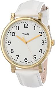Timex Women's T2P170AB Originals Classic Round White Leather Strap Watch
