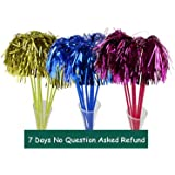 3 Cat Teasers Cheerleading Pom Poms Style with Soft Crinkle Streamers by ViviPet cat toy cat wand