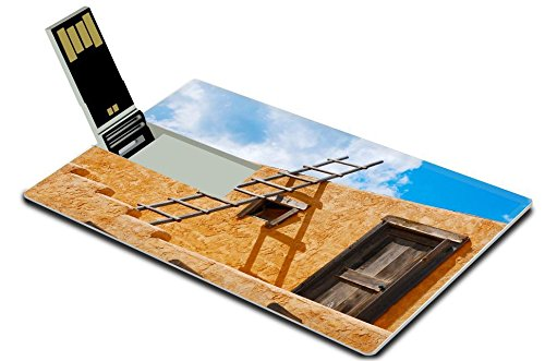 Liili 32GB USB Flash Drive 2.0 Memory Stick Credit Card Size Ladder on a Southwest style stucco building in New Mexico Photo 5582368 Simple Snap Carrying