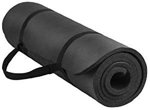 BalanceFrom GoYoga All-Purpose 1/2-Inch Extra Thick High Density Anti-Tear Exercise Yoga Mat with Carrying Strap (Black)