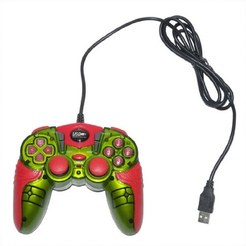 USB Double Dual Shock Joypad Game & Computer Controller - Red & Green