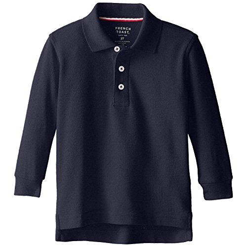 French Toast School Uniform Boys Long Sleeve Pique Polo Shirt, Navy, Small (6/7)