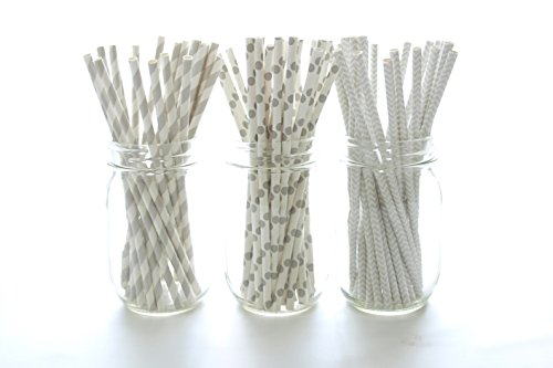Silver Wedding Straws, Anniversary Party Supplies, Gray Vintage Paper Straws (75 Pack) - Grey Silver Striped, Polka Dot & Chevron Straws