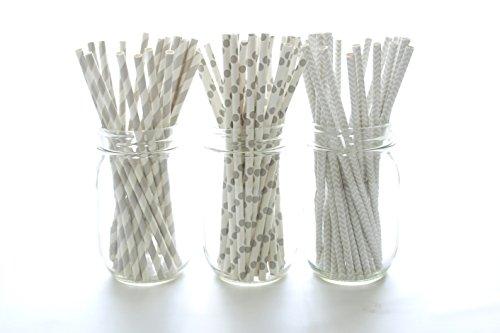 Silver Wedding Straws, Anniversary Party Supplies, Gray Vintage Paper Straws (75 Pack) - Grey Silver Striped, Polka Dot & Chevron Straws