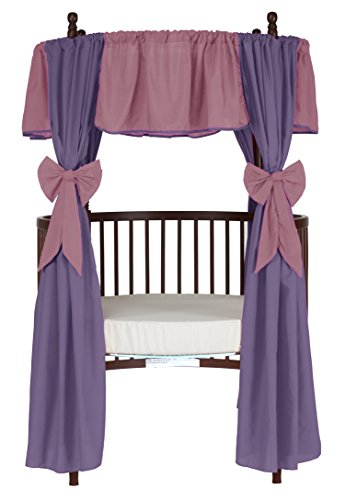 Baby Doll Reversible Round Crib Curtains, Pink/Lavander