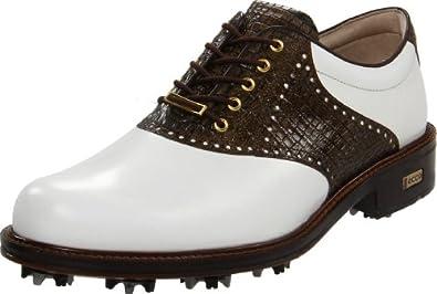 ECCO Men's World Class Golf Shoe,White/Rustic Brown,43 EU/9-9.5 M US