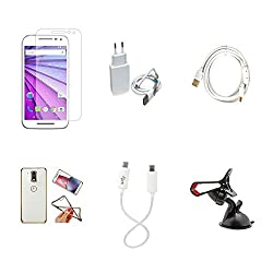 High Quality Combo of Moto G3 Temper Glass + 1 Amp USB Charger + Fast Charging Cable + Attractive Back Cover (Transparent Back with Golden Border) + Android to Android Charging Cable