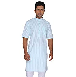 Rajubhai Hargovindas Men's Poly Cotton Kurta (modi_Turquoise_34)