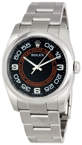Rolex No Date Black Arabic Dial Orange Concentric Circle Mens Watch 116000BKCOAO