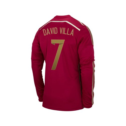 Adidas DAVID VILLA #7 Spain Home Jersey World Cup 2014 LONG SLEEVE (L)