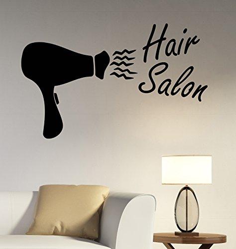 Hair Salon Logo Wall Decal Vinyl Sticker Barber Barbershop Window Decorations Haircut Hairdressing Fashion Studio Decor (Saloon Girl Hairstyles)