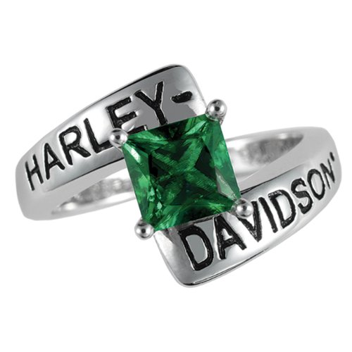 Sterling Silver Harley-Davidson Ladies Crossroads Birthstone Ring - May Faux Emerald