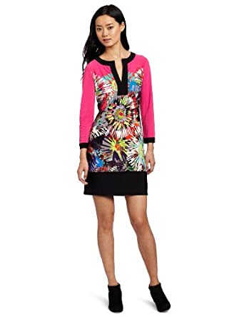 BCBGMAXAZRIA Women's Hayden Printed Shift Dress, Neon Pink Combo, X-Small