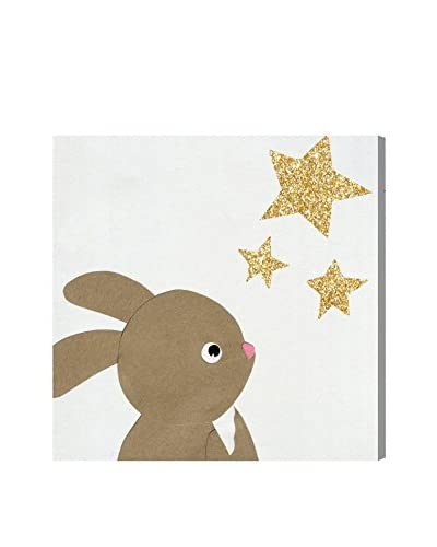 Olivia's Easel Kids' Bunny and The Stars Canvas Art, Multi, 20 x 20
