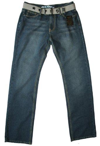 Urban Republic men's comfort fit indigo belt jean, 34W 34L