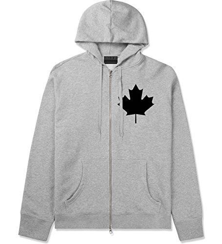 Kings Of NY Canadian Maple Leaf Vintage Retro Canada Zip Up Hoodie XX-Large Grey (Canada Zip Up Hoodie compare prices)