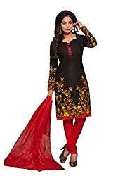 PShopee Black & Red Cotton Unstitched Salwar Suit Dress Material