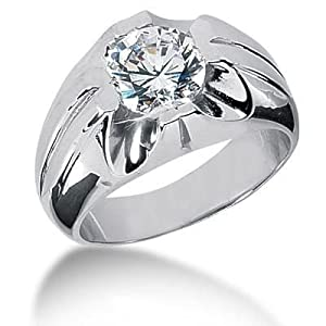 Men s Platinum Diamond Ring 1 Round Stone 2.50 ctw 125PLAT-MDR1227 - Size 8.25