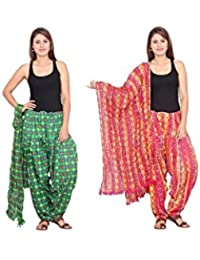 Rama Set Of 2 Printed Green & Pink Colour Cotton Full Patiala With Dupatta Set