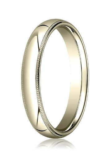14K Yellow Gold, 4mm Slightly Domed Comfort-Fit Ring with Milgrain (sz 12.5)