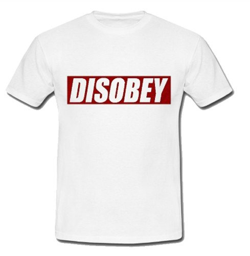 Maglietta Disobey Bianca- V for Vendetta - T-shirt originale V per Vendetta, M (adulti)