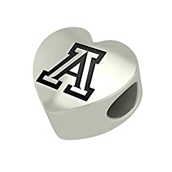 Arizona Wildcats Heart Bead Fits Pandora Style Bracelets