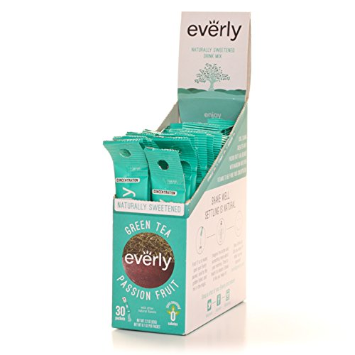 Everly - All Natural Zero Calorie Powdered Drink Mix - Green Tea Passion Fruit (30 Count) .................... Water Enhancer With Natural Flavor, Natural Color, Sugar Free, Sweetened With Stevia Leaf Extract, And Vitamin Enhanced For Fitness Hydration, O