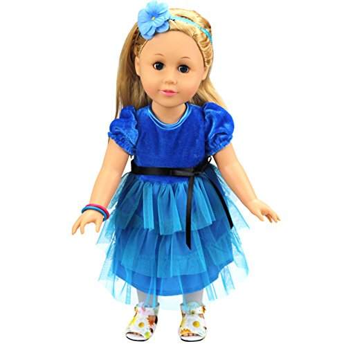 [HappyBB Baby Doll Clothes Skirt Fits 16 inches American Girl Doll - Dark Blue Multi Layer Skirt] (Ice Skating Dress Costumes)