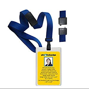 MRI Safe Royal Blue Lanyard With Badge Holders - 10 Pcs Pack (Vertical)