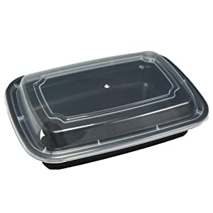 50set 38oz Black Square Food Takeout Storage Containers with Lids by GorillaSupply