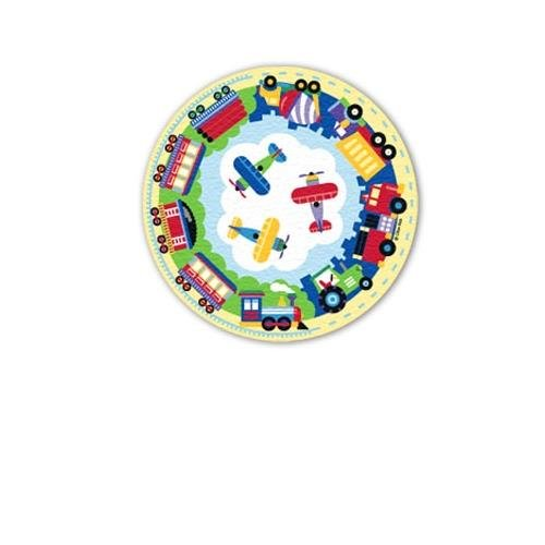 Kids Printed Round Rug - Trains, Planes & Trucks Collection front-1013638