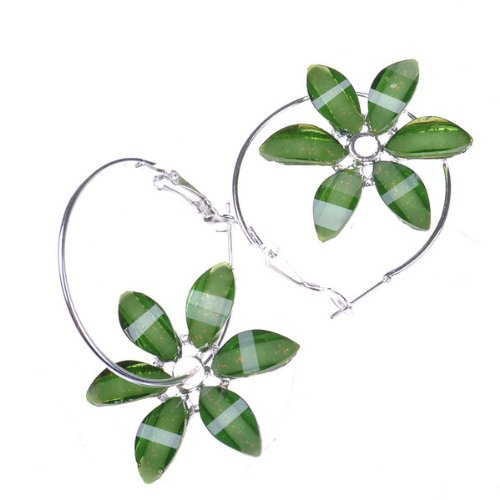 Beautiful Six Petals Green Flower Earrings Stud Cute