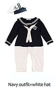 Baby Boys One Piece Romper,100% Cotton Long Sleeve Winter Sailor Costume,navy Outift+white Hat Withe