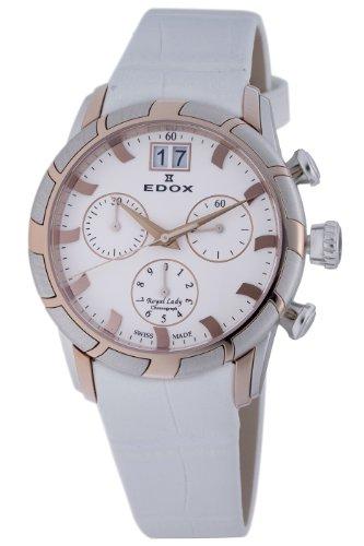 Edox Women's 10018 357R AIR Royal Chronograph White Dial Watch