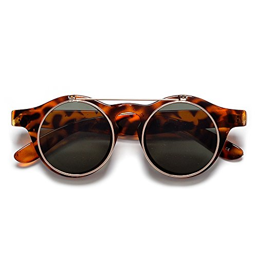 Sunglass Spot-Small Retro Victorian Steampunk Circle Flip Up Glasses/Sunglasses (Tortoise/G-15)