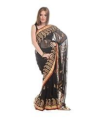 LiVi Chiffon Embellished Saree With Zari Paisleys & Border For Women
