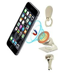 ieGeek Magnetic Mobile Phone Car Mount, 360° Swivel Dashboard & Windshield & Air Vent Car Cradle Cell Phone Holder Stand with Finger Grip Ring for iPhone Galaxy Nexus and Other Smartphones