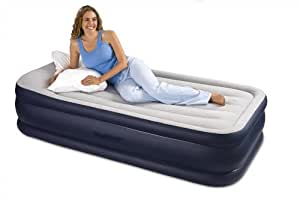 Intex Deluxe Pillow Rest Raised Airbed with Soft Flocked Top for Comfort, Built-in Pillow and Electric Pump, Twin, Bed Height 16 3/4""