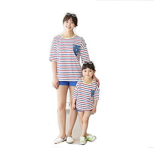 [ニューライフスカイ]子供服 親子ペア  短袖+ショットパンツ  2点セット 家族 子供の服 縞模様 レッド lbertz0007 (100)