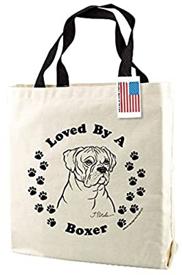 Boxer Dog Print Canvas Tote Bag with Handles