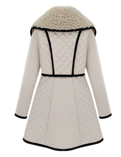 JollyChic Women's Winter Large Collar Warm Long Cotton Coat with Belt (10, Beige)