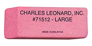 Charles Leonard Inc., Eraser, Rubber, Wedge Shape Pink, Large, 12 Each/Box (71512)